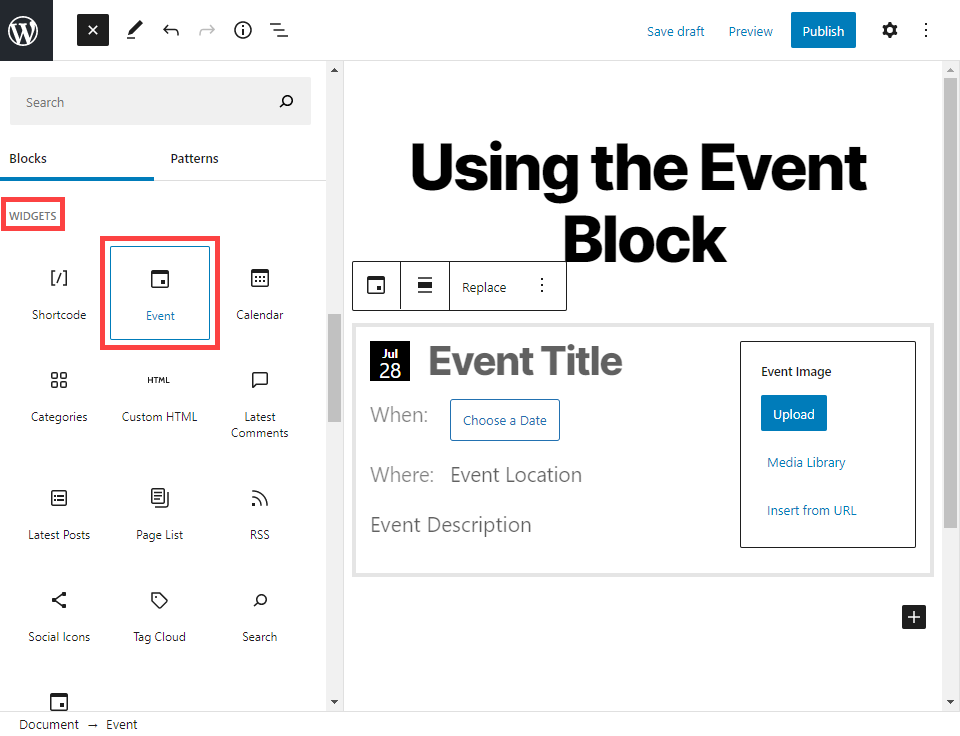 event block in search results