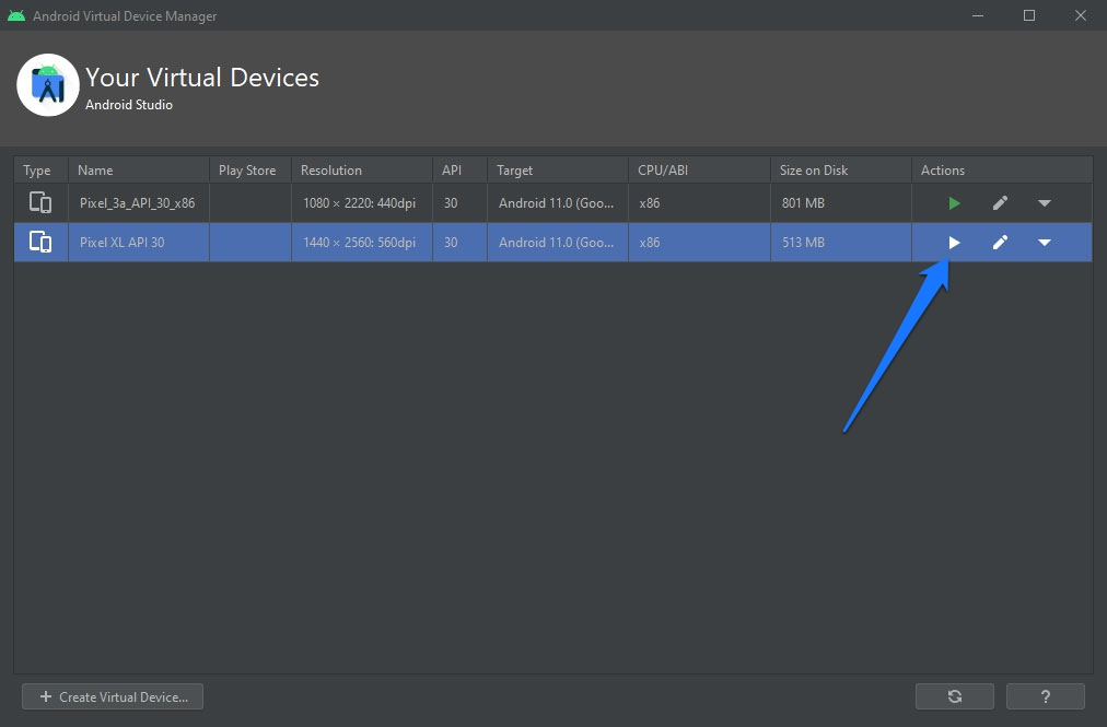 start virtual device in android sdk